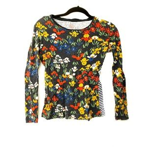 TORY BURCH  Katrina T-Shirt Floral Striped Garden